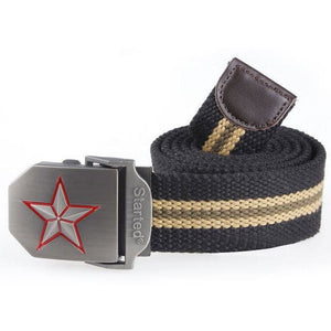 3D Red Star Automatic Buckle Belts Fashion Mens Tactical Canvas Belts Male Casual Strap Waist Of Style1 Black Stripe / 110Cm