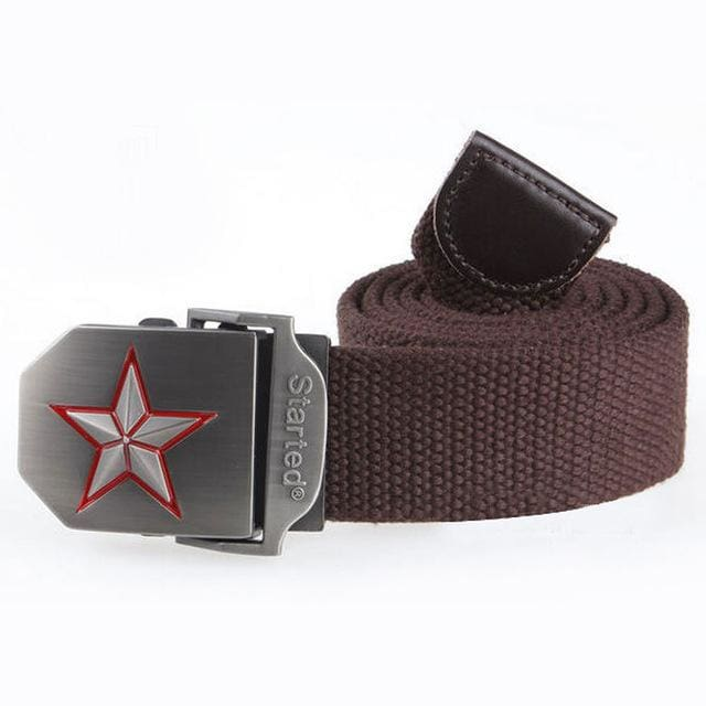 3D Red Star Automatic Buckle Belts Fashion Mens Tactical Canvas Belts Male Casual Strap Waist Of Style1 Coffee / 110Cm