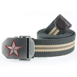 3D Red Star Automatic Buckle Belts Fashion Mens Tactical Canvas Belts Male Casual Strap Waist Of Style1 Army Stripe / 110Cm
