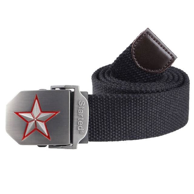 3D Red Star Automatic Buckle Belts Fashion Mens Tactical Canvas Belts Male Casual Strap Waist Of Style1 Black / 110Cm