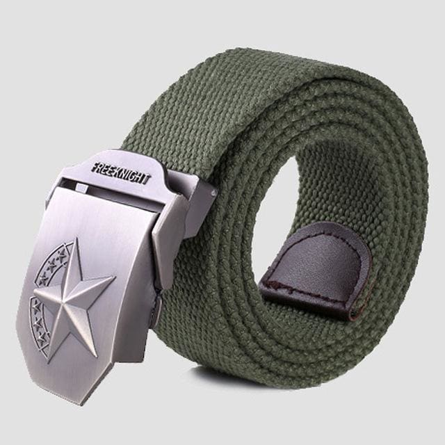 3D Red Star Automatic Buckle Belts Fashion Mens Tactical Canvas Belts Male Casual Strap Waist Of Style2 Army / 110Cm