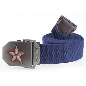 3D Red Star Automatic Buckle Belts Fashion Mens Tactical Canvas Belts Male Casual Strap Waist Of Style1 Blue / 110Cm