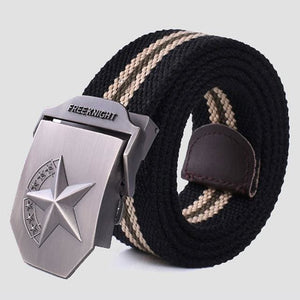 3D Red Star Automatic Buckle Belts Fashion Mens Tactical Canvas Belts Male Casual Strap Waist Of Style2 Black Stripe / 110Cm