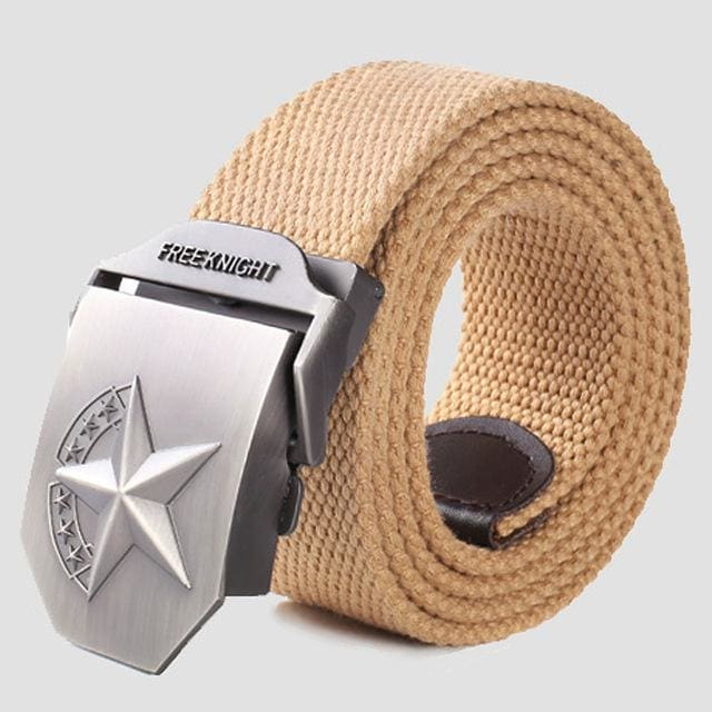 3D Red Star Automatic Buckle Belts Fashion Mens Tactical Canvas Belts Male Casual Strap Waist Of Style2 Khaki / 110Cm