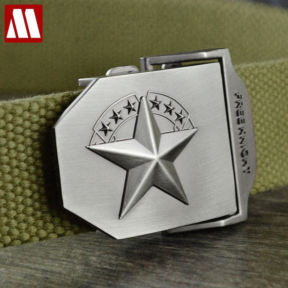 3D Red Star Automatic Buckle Belts Fashion Mens Tactical Canvas Belts Male Casual Strap Waist Of