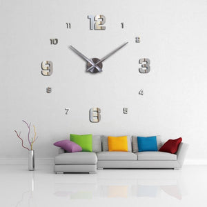 3d wall clock new home decor large roman mirror fashion diy modern Quartz clocks living room  watch - MBMCITY