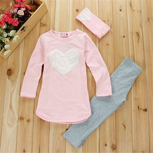 3pcs 1pc Hair Band+1pc Shirts+1pc Pants Children's Clothing Set Girls Clothes Suits Pink Red Heart - MBMCITY