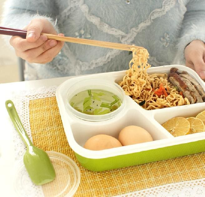 4 Cells Healthy Plastic Food Container 1000ml Multifunction Adults Lady Kid Lunchbox Microwaveable - MBMCITY