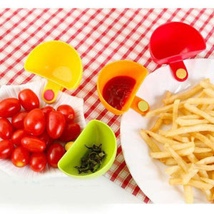 4 pcs/Set Assorted Salad Sauce Ketchup Jam Dip Clip Cup Bowl Saucer Tableware Kitchen Sugar Salt