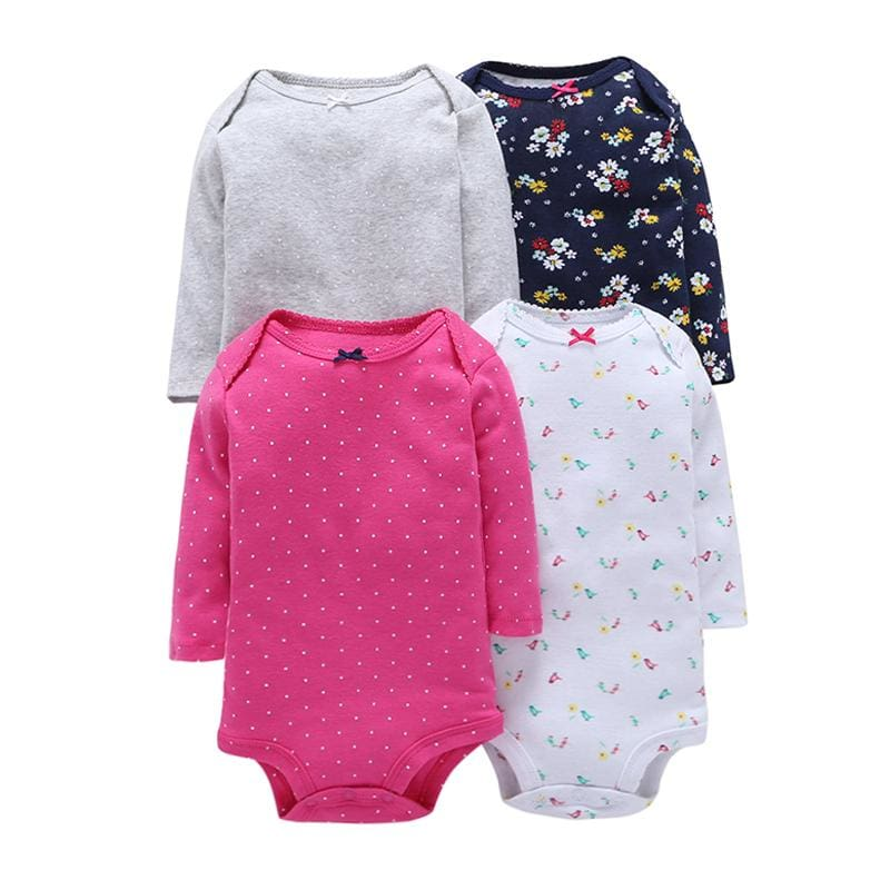 4Pcs/Lot Summer Baby Girl Bodysuits Set Rose Red Dot Long Sleeves Black Flowers Cotton Baby