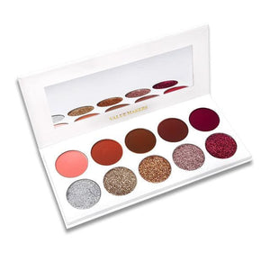 5 Glitter + 5 Matte Eyeshadow Pallete Pressed Powder Diamond Glitter Foiled Eye Shadow Make up - MBMCITY