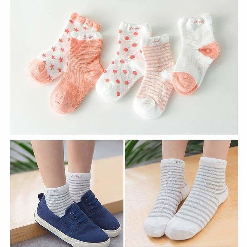 5 Pair/Lot Baby 100% Cotton Socks Spring Summer Princess Lace Mesh Newborns Candy Male Female Ankle - MBMCITY