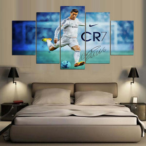 5 Panel Canvas Printed Real Madrid Ronaldo Painting For Living Picture Wall Art HD Print Decor.