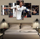 5 Panel Real Sergio Ramos Madrid Canvas Printed Painting For Living Picture Wall Art HD Decor