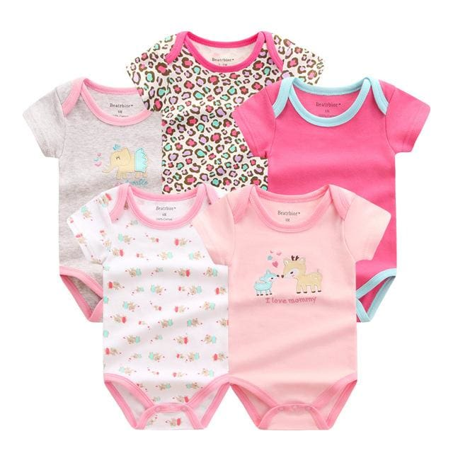 5 PCS/LOT Baby Rompers 2016 Summer Baby Clothing Set Cartoon Romper Infant Newborn Baby Boy and Girl DPS503G / 3M