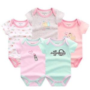 5 PCS/LOT Baby Rompers 2016 Summer Baby Clothing Set Cartoon Romper Infant Newborn Baby Boy and Girl DPS504G / 3M