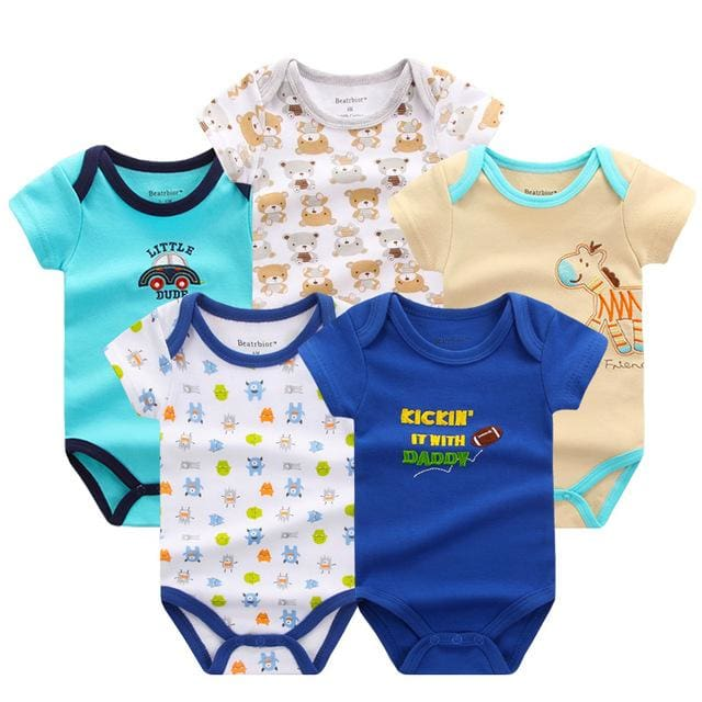 5 PCS/LOT Baby Rompers 2016 Summer Baby Clothing Set Cartoon Romper Infant Newborn Baby Boy and Girl DPS503B / 3M