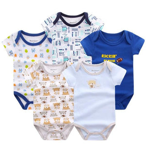 5 PCS/LOT Baby Rompers 2016 Summer Baby Clothing Set Cartoon Romper Infant Newborn Baby Boy and Girl DPS502B / 3M