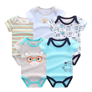 5 PCS/LOT Baby Rompers 2016 Summer Baby Clothing Set Cartoon Romper Infant Newborn Baby Boy and Girl DPS506B / 3M