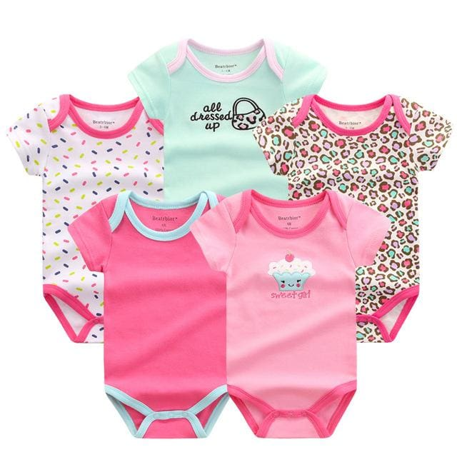 5 PCS/LOT Baby Rompers 2016 Summer Baby Clothing Set Cartoon Romper Infant Newborn Baby Boy and Girl DPS505G / 3M