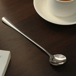 5 pcs/lot High Quality Ice Cream Tea Coffee Handled Long Handle Stainless Steel Spoons Flatware Free