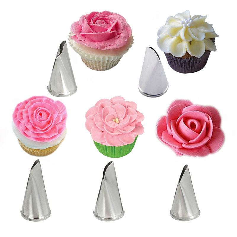 5 Pcs/Set Rose Petal Metal Cream Tips Cake Decorating Tools Steel Icing Piping Nozzles Cake Cream