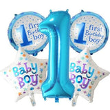5 pieces Baby 1st Birthday balloons set pink Blue Number Foil Balloons birthday party decorations Blue