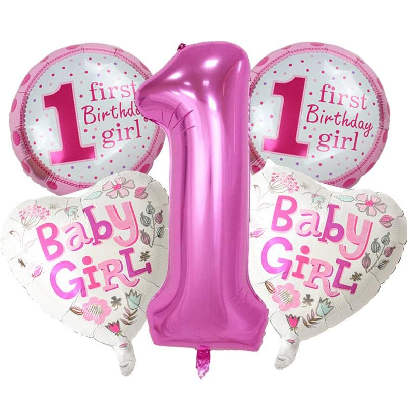 5 Pieces Baby 1st Birthday Balloons Set Pink Blue Number Foil Party MBMCITY