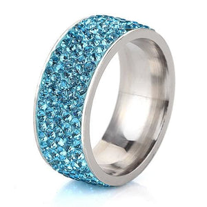 5 Row Lines Clear Crystal Jewelry Fashion Stainless Steel Engagement Rings 5.5 / Sky Blue