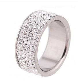 5 Row Lines Clear Crystal Jewelry Fashion Stainless Steel Engagement Rings 5.5 / White