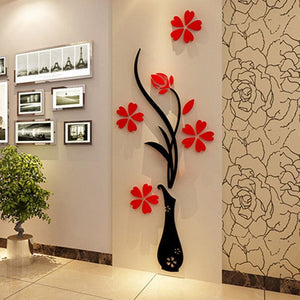 5 Size Colorful Flower Vase 3D Acrylic Decoration Wall Sticker DIY Art Wall Poster Home Decor