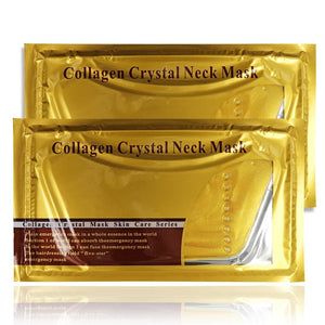 5Pcs/lot Pro Gold Collagen Crystal Neck Mask Collagen Neck Lift Masks Gold Crystal Neck Mask