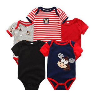 5PCS/LOT Unisex Top Quality Baby Rompers Short Sleeve Cottom O-Neck 0-12M Novel Newborn Boys&Girls - MBMCITY