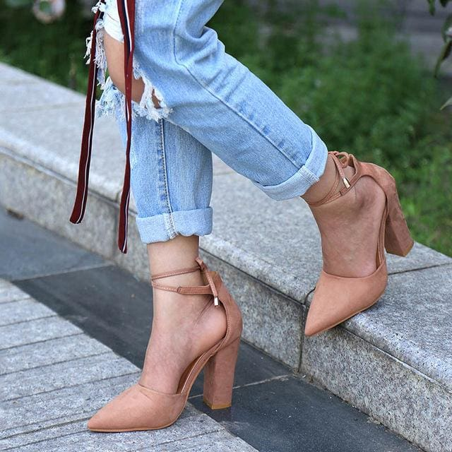 6 Colors Pointed Strappy Pumps Sexy Retro High Thick Heels Shoes 2107 New Woman Shoes Female Lace Up - MBMCITY