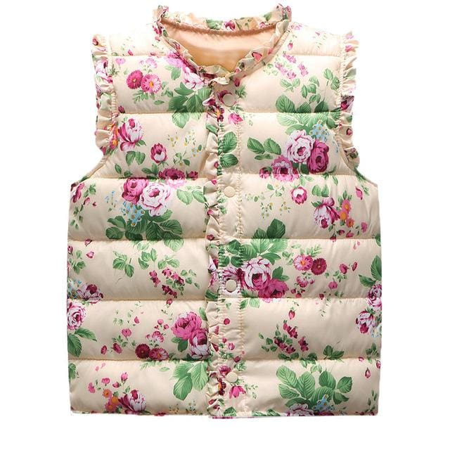 6-Style Autumn&Winter Sweet Floral Children's Girls Jackets Cotton Warm Kids Vest For Girl Waistcoat