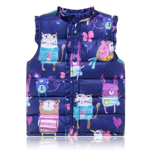 6-Style Autumn&Winter Sweet Floral Children's Girls Jackets Cotton Warm Kids Vest For Girl Waistcoat - MBMCITY
