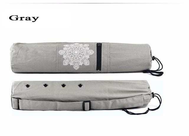68 x 15cm Canvas Practical Yoga Pilates Mat Carry Strap Drawstring Bag Sport Exercise Gym Fitness Gray