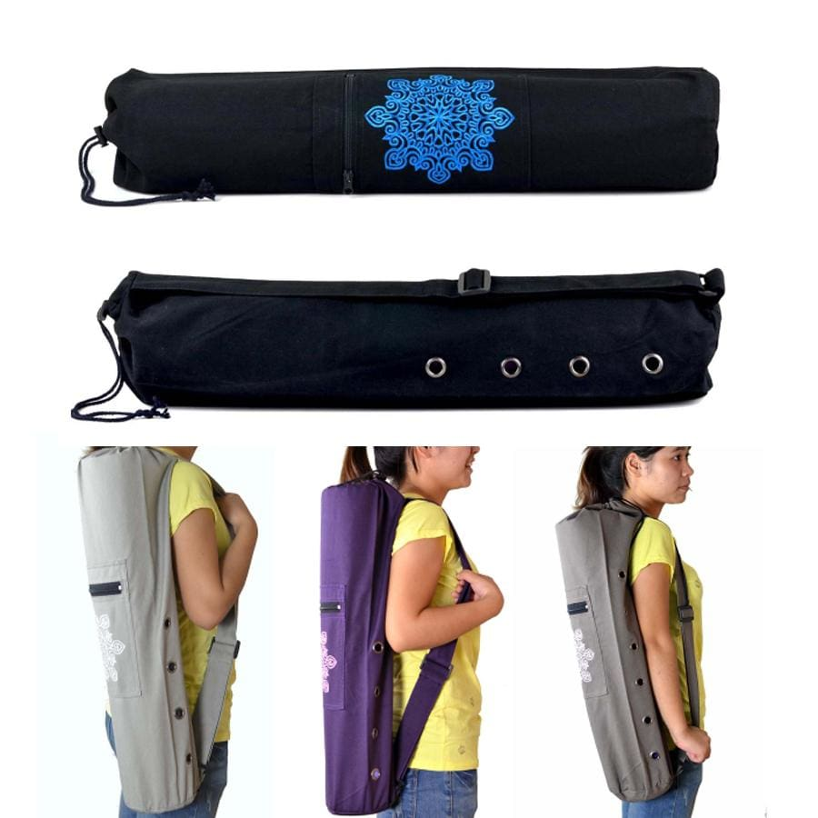 68 x 15cm Canvas Practical Yoga Pilates Mat Carry Strap Drawstring Bag Sport Exercise Gym Fitness