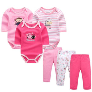 6pcs/lot Baby Girl Clothes Newborn Toddler Infant Autumn/Spring Cotton Baby Rompers+ Baby Pants Baby LST6002B / 3M