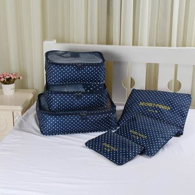 6pcs/set Baggage Travel Organizer Bag Waterproof Project Packing Organizer Travel Bags Clothes Blue dot Big