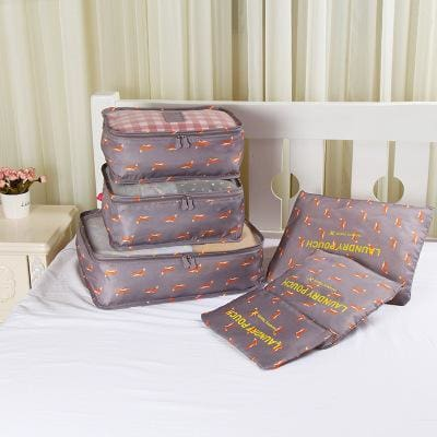 6pcs/set Baggage Travel Organizer Bag Waterproof Project Packing Organizer Travel Bags Clothes fox Big