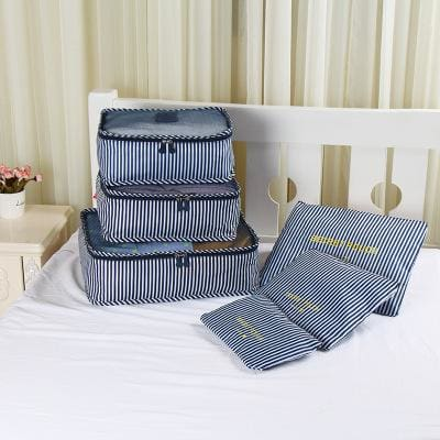 6pcs/set Baggage Travel Organizer Bag Waterproof Project Packing Organizer Travel Bags Clothes Flowers Navy Big
