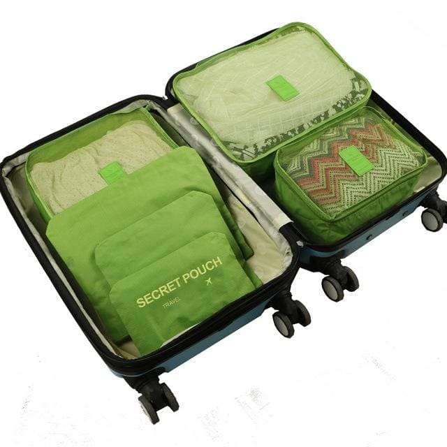 6pcs/set Baggage Travel Organizer Bag Waterproof Project Packing Organizer Travel Bags Clothes Green Big