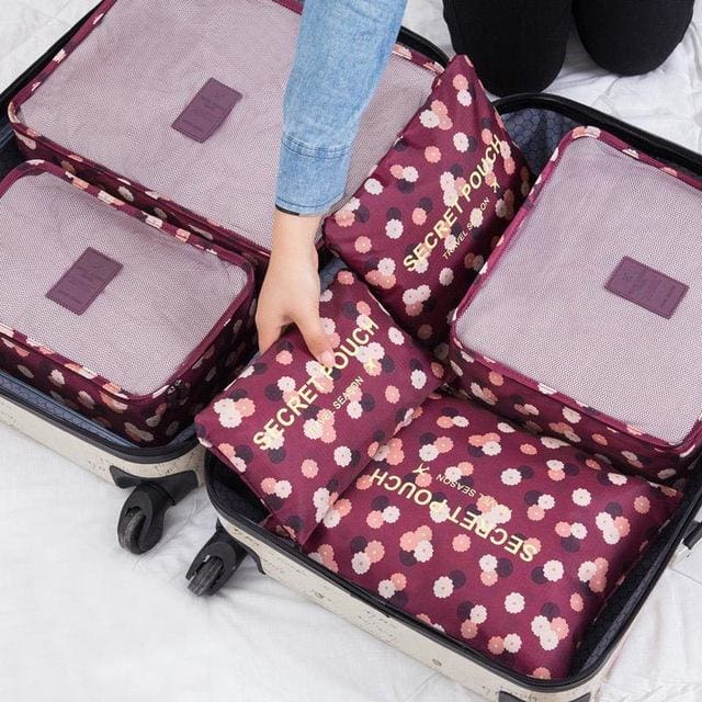 6pcs/set Baggage Travel Organizer Bag Waterproof Project Packing Organizer Travel Bags Clothes Flowers Wine red Big