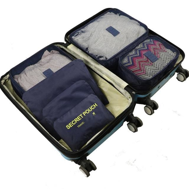 6pcs/set Baggage Travel Organizer Bag Waterproof Project Packing Organizer Travel Bags Clothes Blue Big