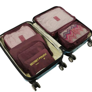 6pcs/set Baggage Travel Organizer Bag Waterproof Project Packing Organizer Travel Bags Clothes Wine red Big