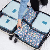 6pcs/set Baggage Travel Organizer Bag Waterproof Project Packing Organizer Travel Bags Clothes Flowers Blue Big
