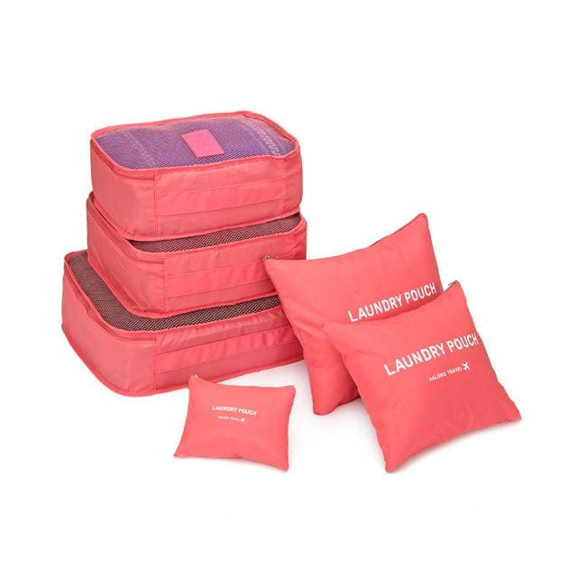 6pcs/set Baggage Travel Organizer Bag Waterproof Project Packing Organizer Travel Bags Clothes watermelon red small