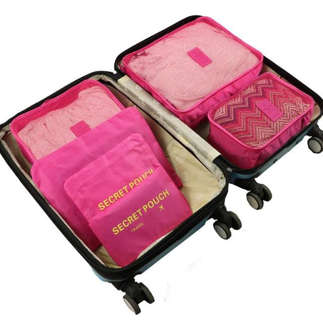 6pcs/set Baggage Travel Organizer Bag Waterproof Project Packing Organizer Travel Bags Clothes Rose red Big