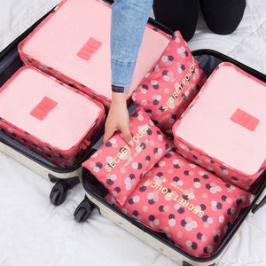 6pcs/set Baggage Travel Organizer Bag Waterproof Project Packing Organizer Travel Bags Clothes Flowers red Big